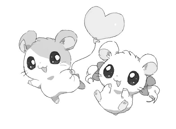 Hamtaro and Bijou (Love these 2 on the show!) #omg this show was my childhood