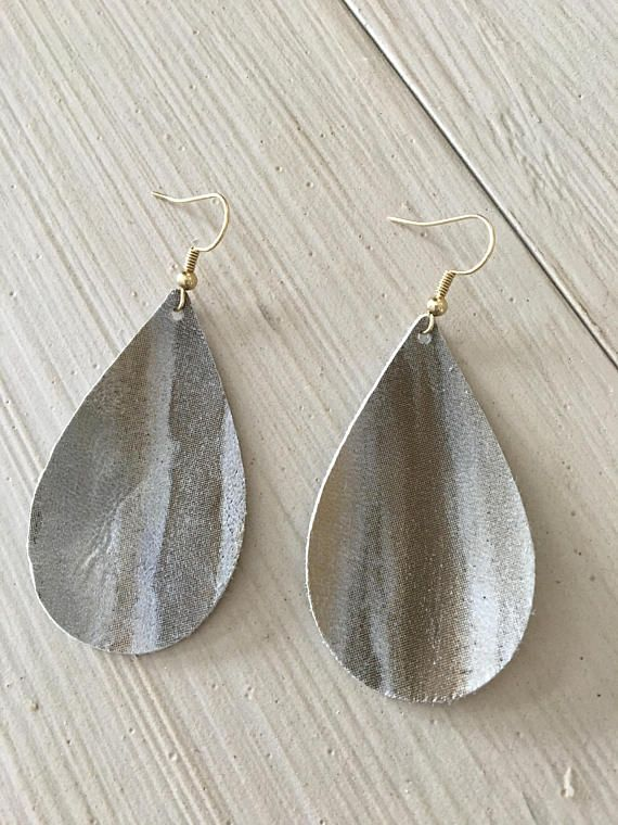 25b06ad6fede5 Leather teardrop earrings/blue-silver and gold metallic | Nine and ...