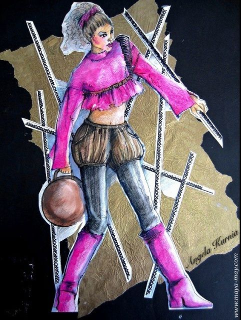 """Pink army girl"" by Angela Kurnia. A2 size. Illustration & collage. #art #fashionillustration #freelanceillustrator #design #militarytheme #pose #pink"