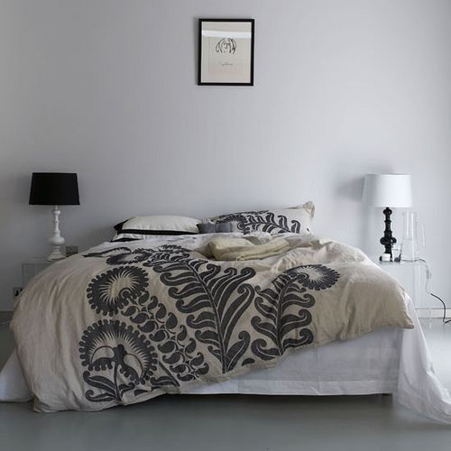 White bedroom with black. i like the bedroom colors. will be glad when I am not renting a house that has ugly wood paneling