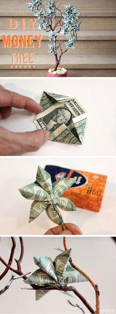 Geld wächst nur auf manchen Bäumen  :) So schön kann man Geldgeschenke verpacken.