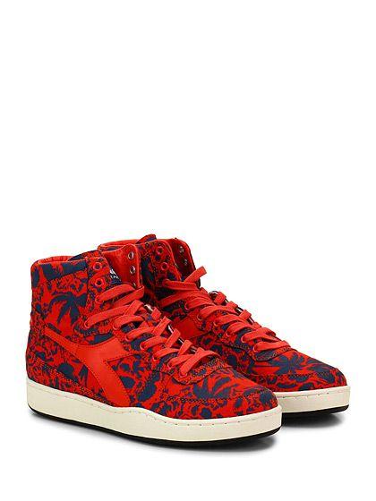 DIADORA Heritage - Sneakers - Uomo - Sneaker in tessuto stampato e pelle con suola in gomma. Tacco 30, platform 25 con battuta 5. - BLU\RED - € 170.00