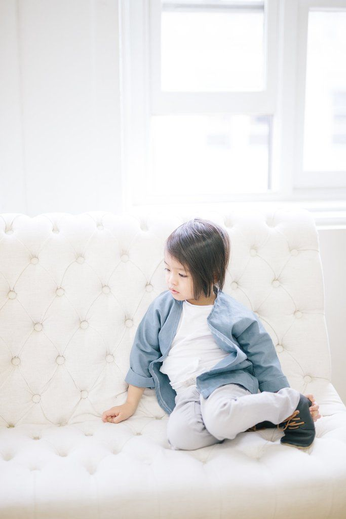 Organic Cotton   Linen Children's and Adult Kimono - Icy Blue