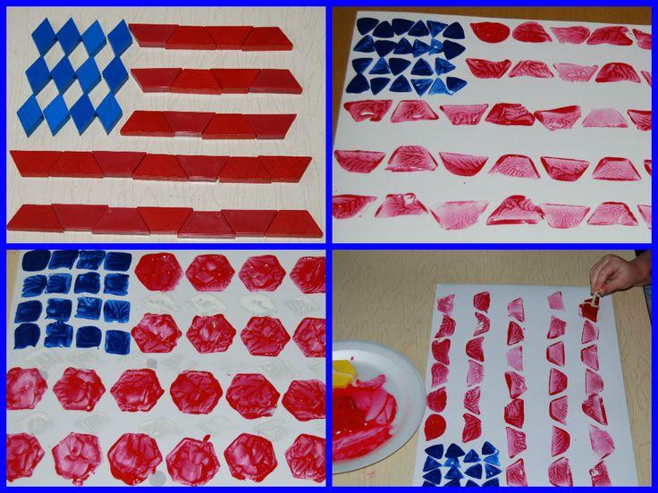 EASY Patriotic Pattern Block Painted Flag Craft for Preschool - The Preschool Toolbox Blog