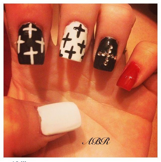 Black And Gold Nail Art Cross Cross nail art