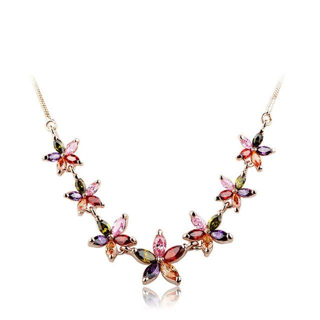 Лето Цветок Многоцветный ААА Циркон Заявление Ожерелье Роуз Позолоченные Лучший Подарок для Свадьбы Рождество Украшения