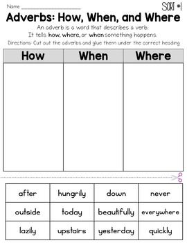 Adverbs (How, When, Where) Worksheet Common Core | ELA | Adverbs ...