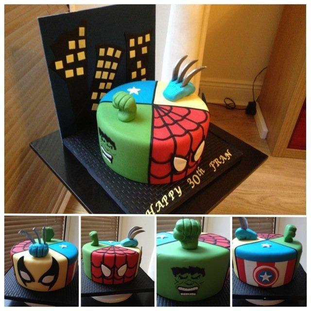 Marvel superheroes cake for 30th birthday