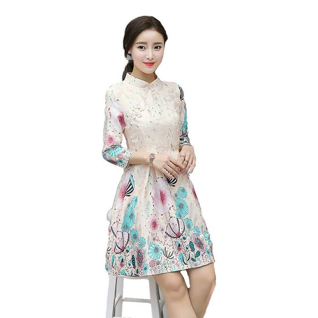Fasbys Traditional Chinese Clothing Classic Mandarin Dress Women's Satin Vintage Cheongsam Collar Gown Mini Qipao Robe Costume