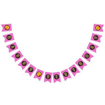 #Cute Emoji Girl's Birthday Party Bunting Flags - #emoji #emojis #smiley #smilies