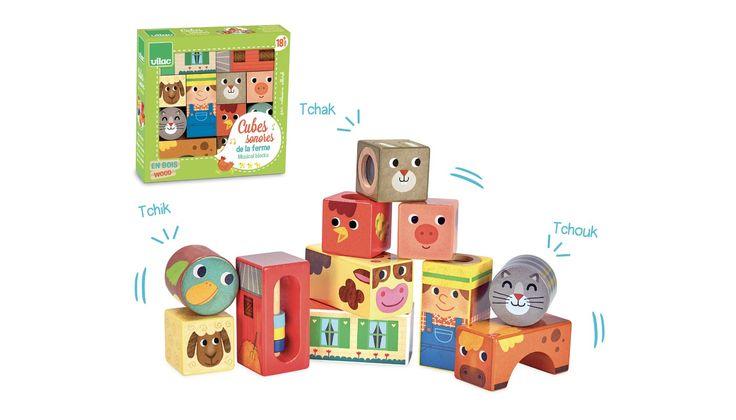 Farm zenélő építőkockák játék fából, Farm musical blocks 18 hónapos kortól - Vilac
