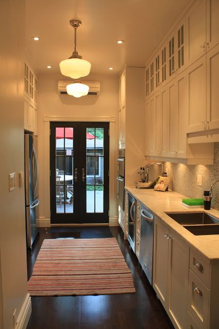 Roncesvalles Victorian Reno Diary I Love Galley Kitchens With French Doors At The End