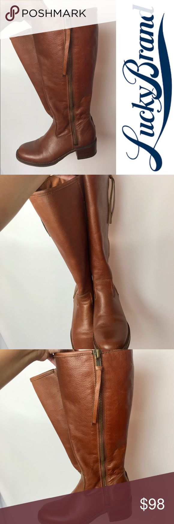 Lucky Hyperr Cognac Riding Boots Knee High Tassel Like New Only Worn Twice! Lucky Brand Leather Cognac/Luggage Color Riding Boots, Chunky Wooden Heel With Side Zipper and a Chic Tassel! Originally Purchased From Nordstrom. Lucky Brand Shoes Heeled Boots