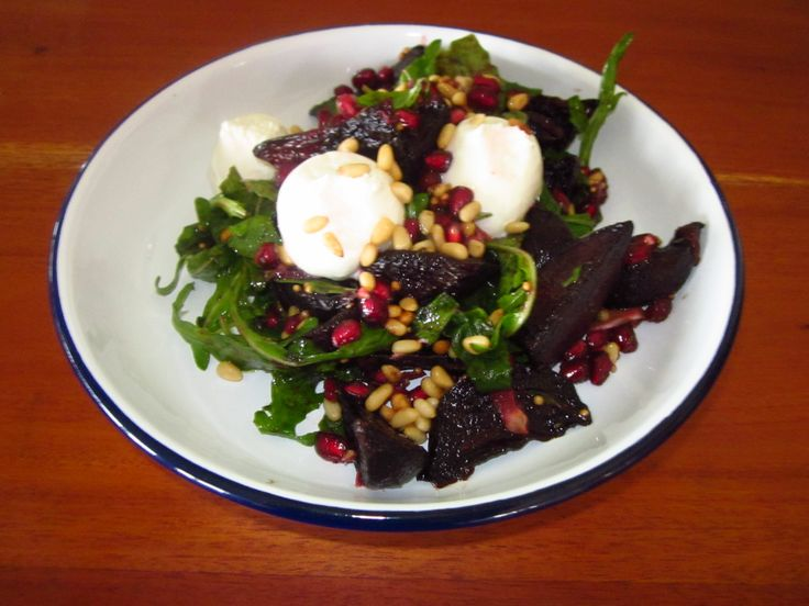 Fabulous beetroot, pomegranate and goats cheese salad