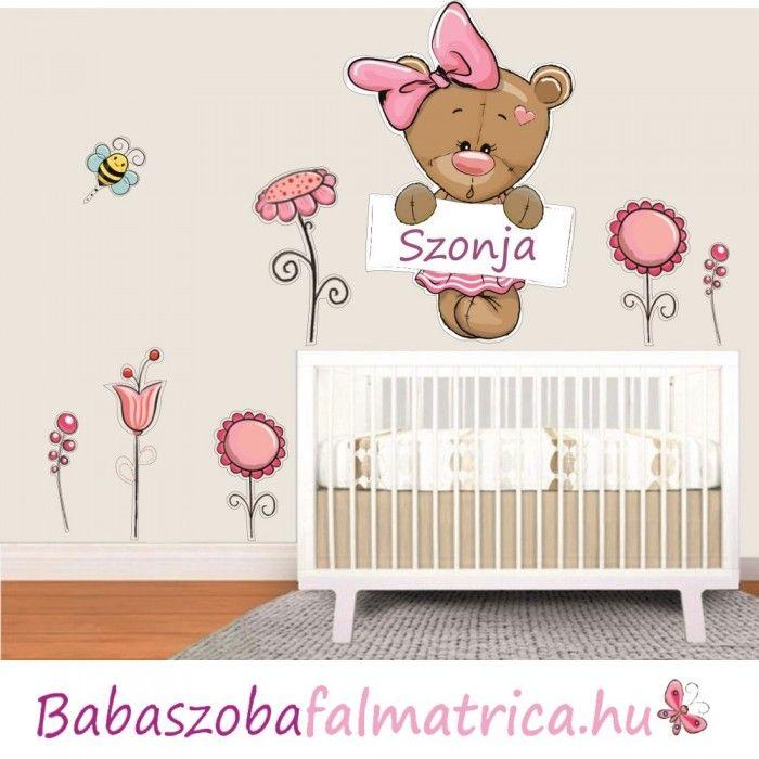 a0cab0ea85 Névre szóló kislány macis falmatrica #babaszoba #maci #falmatrica #gyerek  #gyerekszoba #faldekoráció #kislány