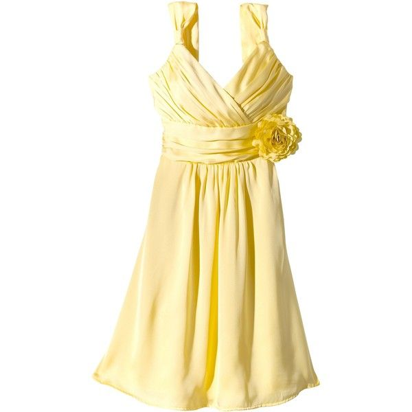Women's Satin V-Neck Bridesmaid Dress with Removable Flower Calm... (3,740 INR) ❤ liked on Polyvore featuring dresses, a line dresses, apparel, calm yellow, plus size, plus size special occasion dresses, beige cocktail dress, plus size cocktail dresses, a-line cocktail dresses and cocktail dresses