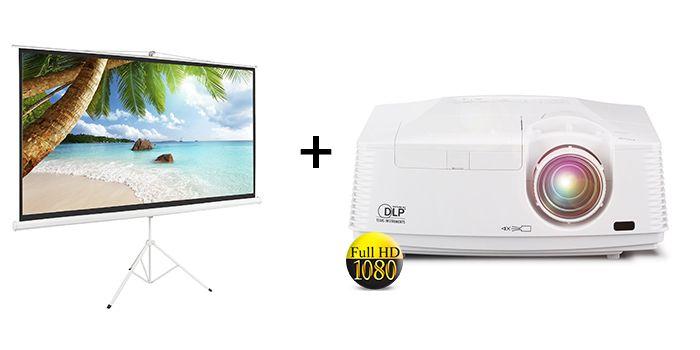 השכרת מקרן FULL HD + מסך הקרנה