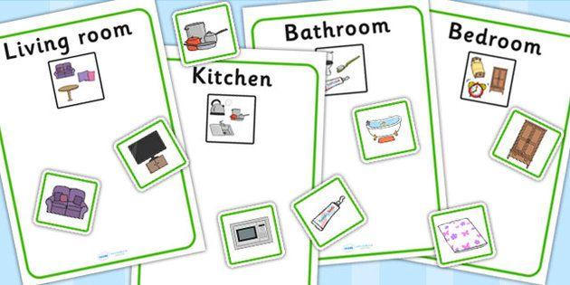 Kitchen Bedroom Bathroom And Living Room Sorting Activity ...