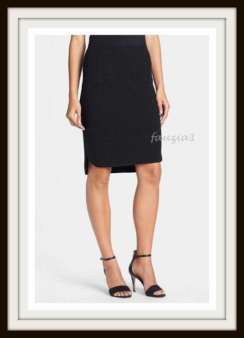 M MD L LG EILEEN FISHER Skirt K/L Merino Interlock Black Shirt Tail Hem $198 NWT #EileenFisher #StraightPencil
