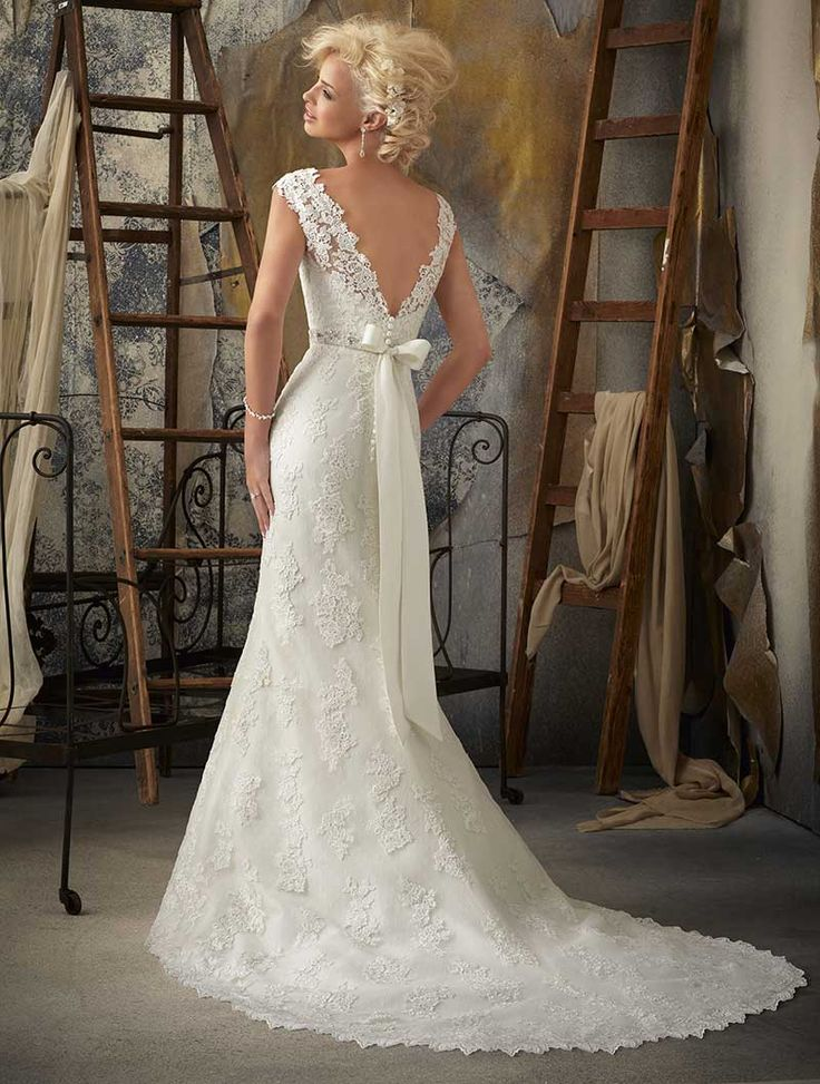 Mori Lee wedding dress #1901 at Glamourous Gowns. FAVORITEE. LOVE THE LACE BACK.