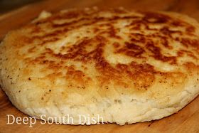 Old Fashioned Biscuit Bread from Deep South Dish blog. A quick biscuit bread, sometimes called hoecake bread, fried in bacon drippings in a screaming hot, cast iron skillet on top of the stove.