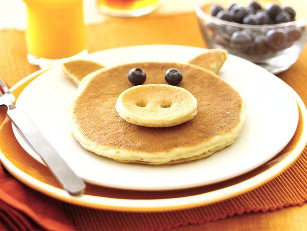 Piggy Pancakes: Pig Pancakes, Pancake Pig, Breakfast Ideas, Food Ideas, Piggy Pancakes, Pigs, Recipes, Kids Food