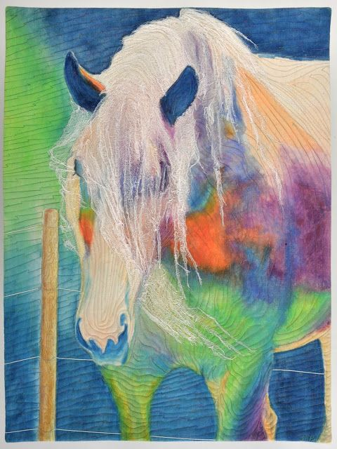 A Horse of a Different Color:   Equus by Mary Pal.  Sculpted cheesecloth, water-soluble wax pastels.  Viewpoints 9 gallery