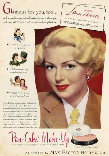 The classic Max Factor Pancake makeup - 1945 ad. Now its a stick foundation and I love it! Great for stage or extra coverage on T zone