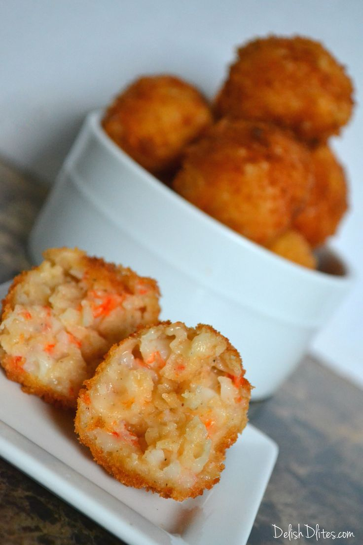These delicious shrimp croquettes consist of a thick bechamel base, mixed with tender shrimp, creating a crunchy fritter with a warm, gooey center.