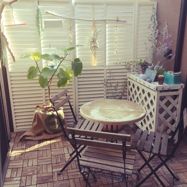 neneさんの、リビング,観葉植物,IKEA,植物,DIY,テラス,麻袋,オリーブ,ウンベラータ,ロンハーマン,ラティス,アウトドアリビング,NO GREEN NO LIFE,のお部屋写真