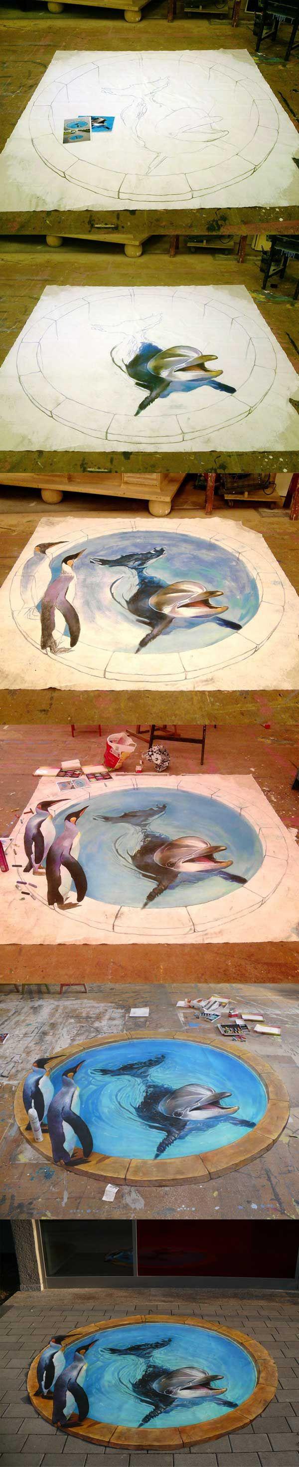 Step by step 3d Street Art Painting Tutorial 25+ New Cool & Creative 3D Street Art Paintings 2012