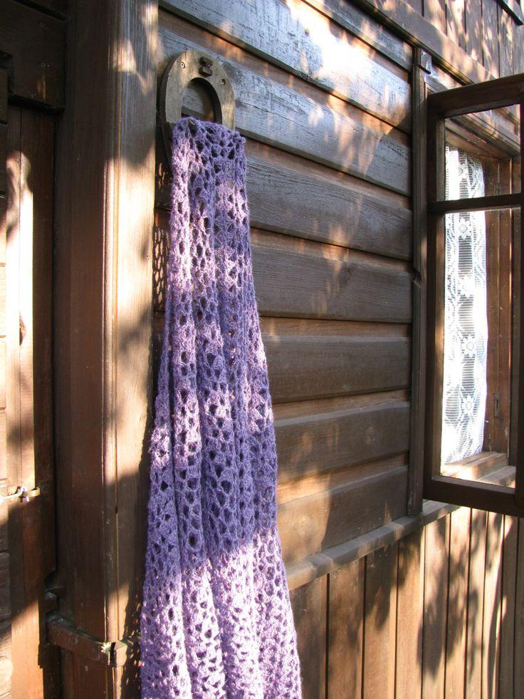 heather purple crocheted triangular alpaca shawl, openwork large wrap, women's winter romantic elegant style by delectare on Etsy