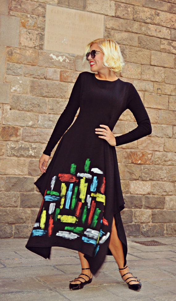 Handmade Painted Maxi Dress TDK208 Extravagant Loose Black