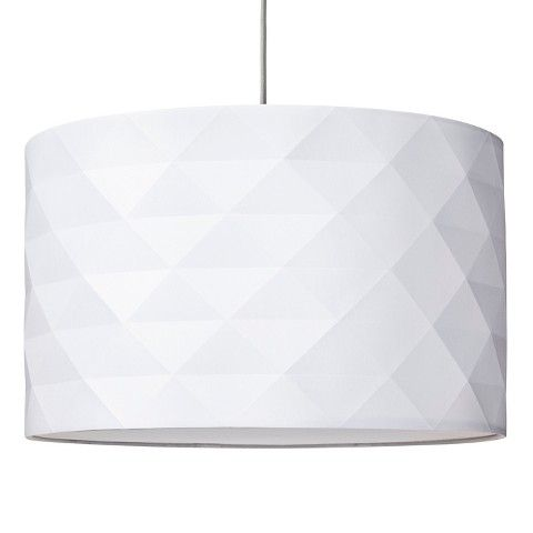 Body Material: Metal Lamp Color: White Number of Lighting Shades: 1 Number of Light Bulbs: 1 Light Bulb Type: Incandescent Maximum Light Bulb Wattage : 100 Watts, 100 Watts Incandescent Mount Type: Ceiling Requires Hardwired Installation : Yes Dimensions: 11.000 H x 18.000 W x 18.000 D Weight: 2.000  Threshold™ Faceted Pendant with Diffuser - True White