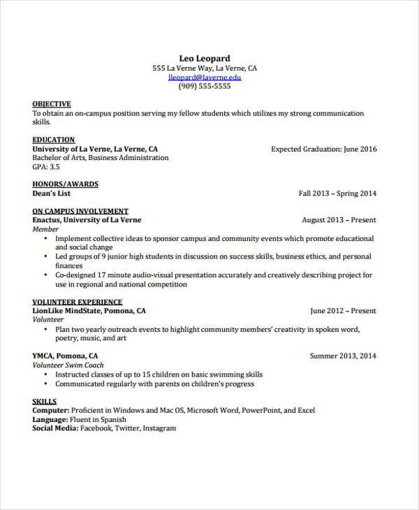 best resume templates college
