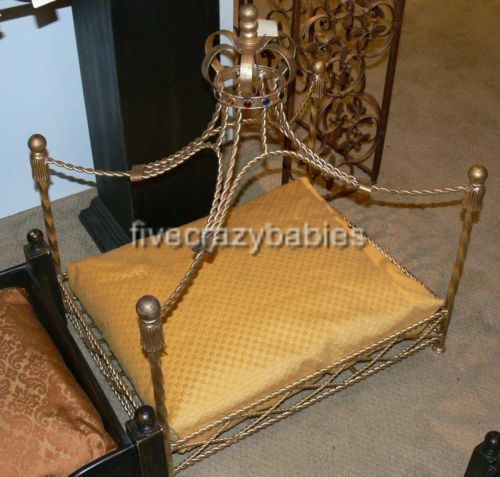 Luxury Iron Royal GOLD CROWN Dog / Pet Bed Jeweled Antique Victorian Cat Canopy