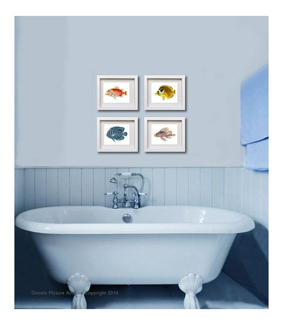 Fish Art Prints Set Of 4 Tropical Fish By GnosisPictureArchive, $30.00 · Bathroom  Wall DecorHall ...