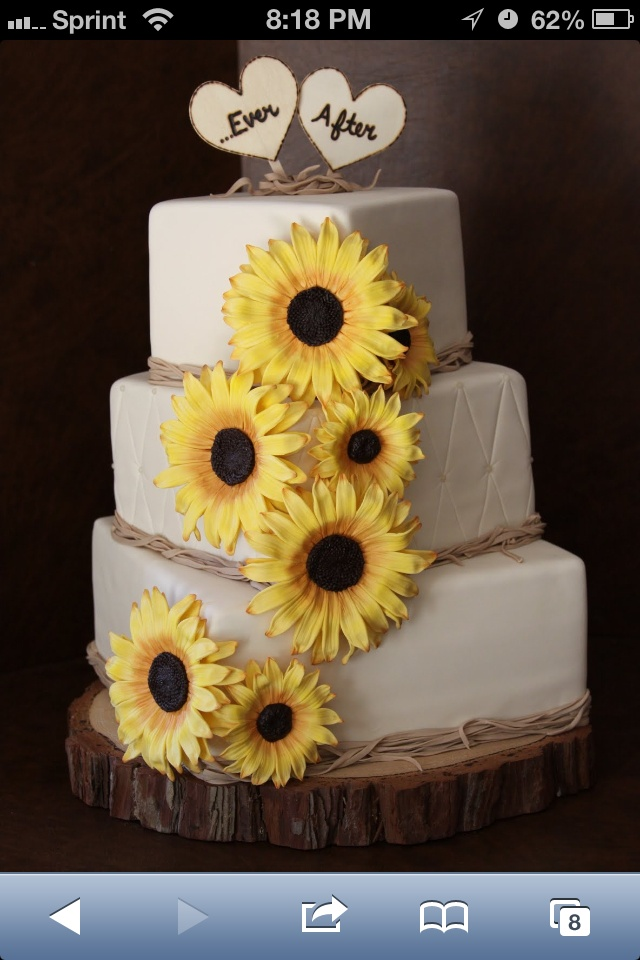 Very rustic sunflower wedding cake