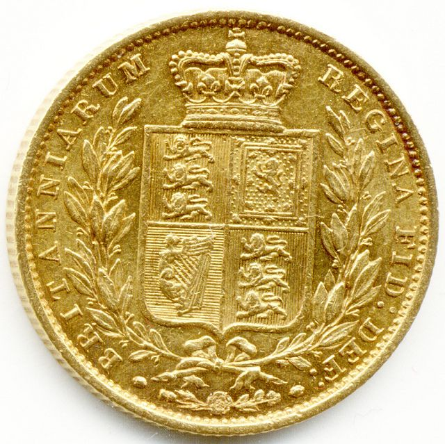 LONDON, 1853 UNITED KINGDOM, QUEEN VICTORIA, GOLD FULL SOVEREIGN COIN, Gold Sovereign.