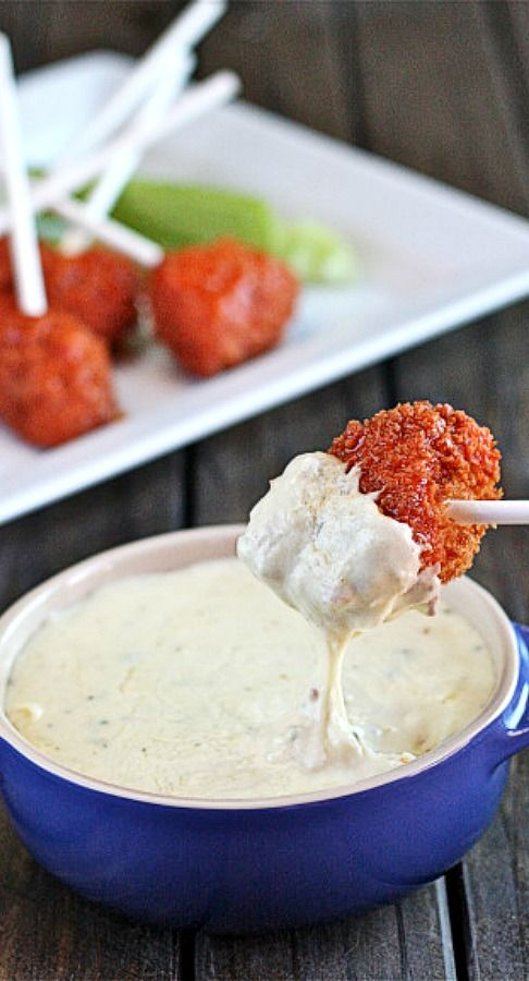 Buffalo Chicken Lollipops with Blue Cheese Fondue | The Hopeless Housewife