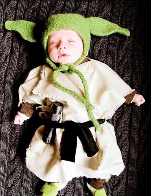 Funny baby. Star Wars. Yoda. Costume