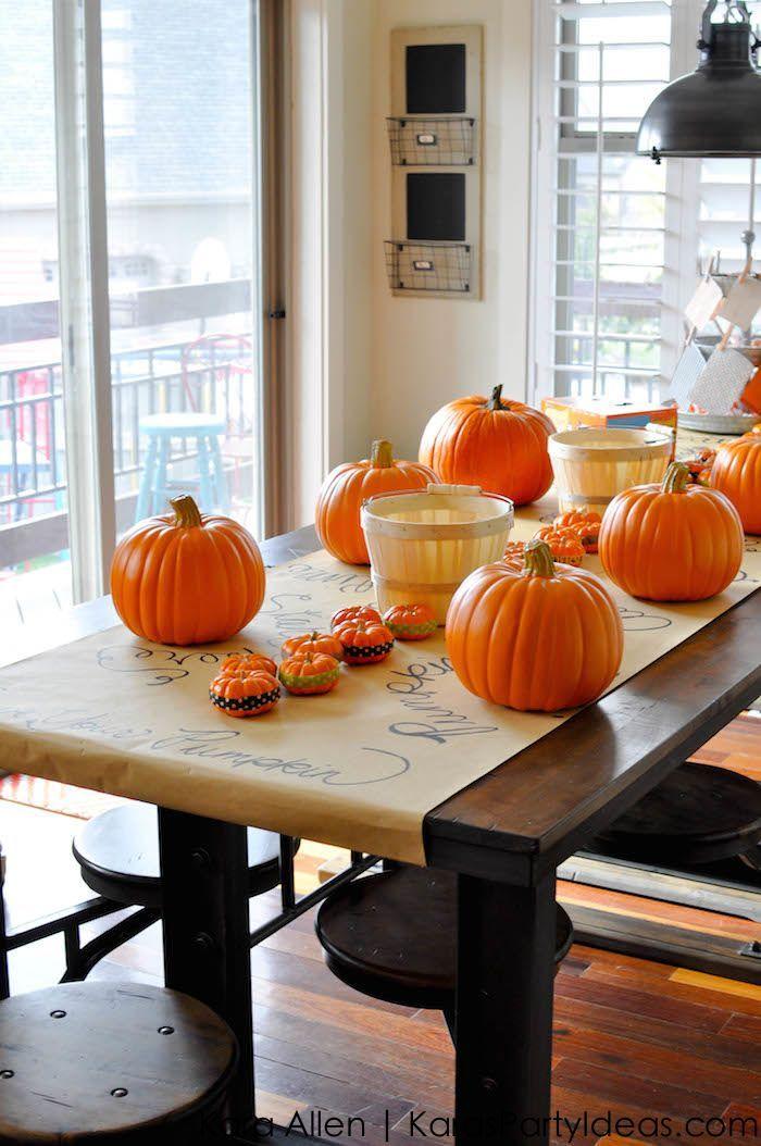 Halloween Pumpkin Carving Party via Kara's Party Ideas KarasPartyIdeas.com #Grumpkin #KarasPartyIdeas