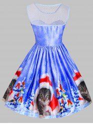 Christmas Cat Snowflake Mesh Panel Dress - BLUE XS Mobile