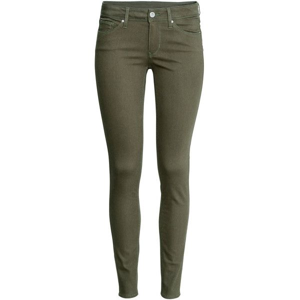 H&M Superstretch trousers found on Polyvore featuring pants, jeans, bottoms, pantaloni, khaki green, h&m pants, green pants, khaki pants, five pocket pants and h&m
