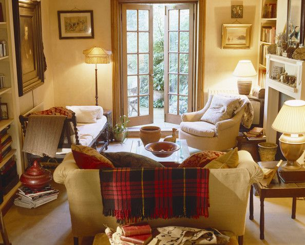 Room Of The Day Cozy Neutral Cottage Style With Tartan Pattern Throw Wood Chaise English InteriorsEnglish