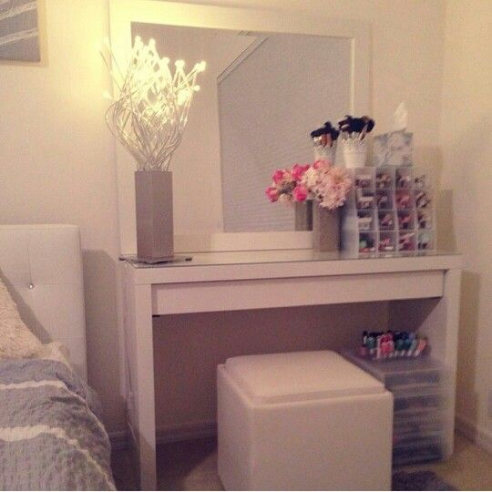 Nice Setup!!..IKea Malm vanity..This reminds me I need to wipe down my table and rearrange everything!!..LOL..Spring Cleaning!!! =)