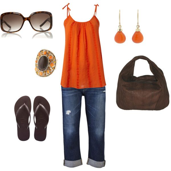 Orange Summer Jeans Outfit, created by ggdesigns on Polyvore