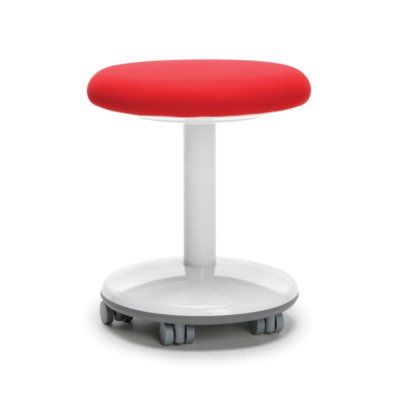 OFM Orbit Vinyl Lab Stool with Wheel Upholstery: Red Static