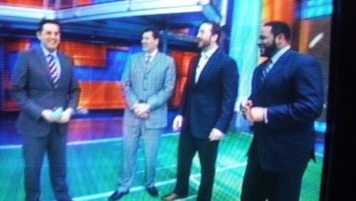 Robert Flores, Mark Schlereth, Jeff Saturday and Jerome Bettis