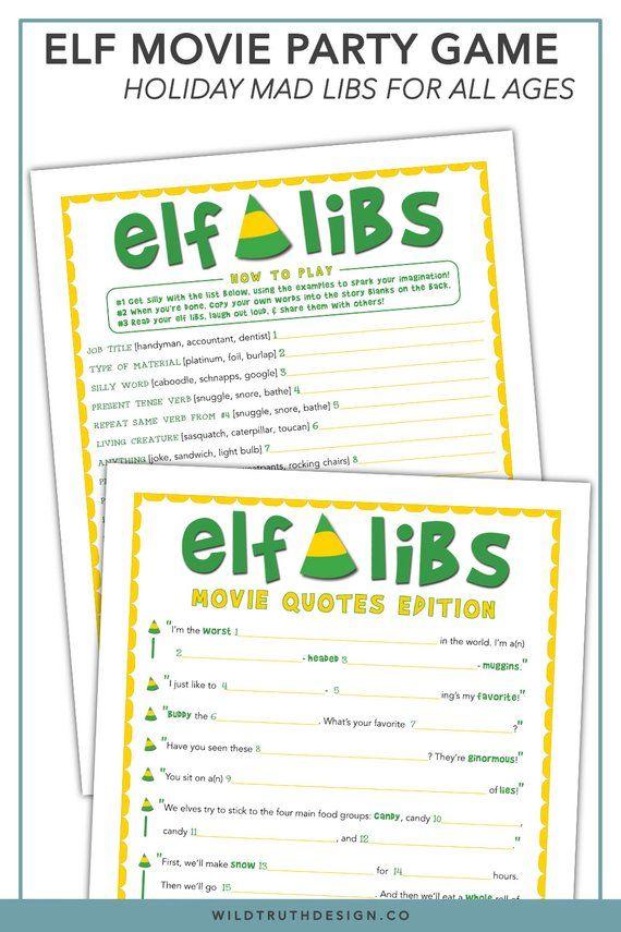 Elf Movie Quotes Christmas Mad Libs - Buddy The Elf Movie